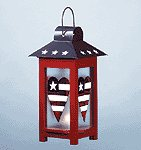 METAL GLASS PATRIOTIC LANTERN