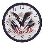 PATRIOTIC EAGLE FLAGS CLOCK