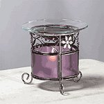 PURPLE GLASS FLOWER OIL WARMER