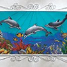 PAINT GLASS DOLPHINS FRAME PLQ