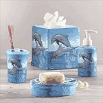 4PC DOLPHIN PTCHWORK BATH SET
