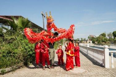 4m Size5 silk print fabric red 4 student Chinese Folk Festival Celebration Costume