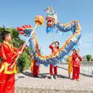 3.1m 4 kid size blue CHINESE DRAGON DANCE silk Folk Festival Celebration mascot Costume