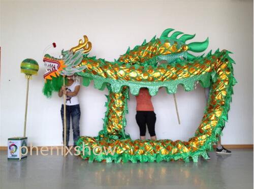 10m Length green sz5 Gold-plated 8 student Chinese DRAGON DANCE game Folk Festival mascot Costume