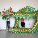 13m Length green sz5 Gold-plated 10 student Chinese DRAGON DANCE game Folk Festival mascot Costume