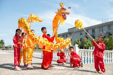 13m Length yellow sz5 Gold-plated 10 student Chinese DRAGON DANCE game Folk Festival mascot Costume