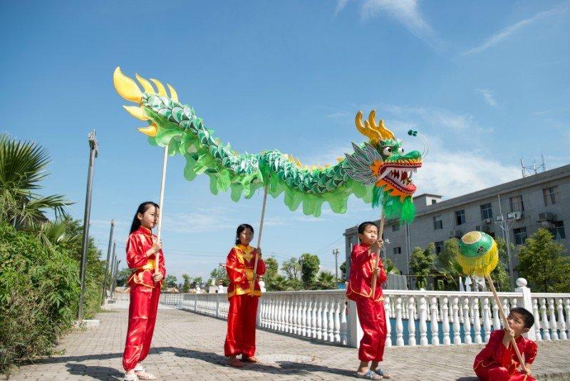 4m Length sz5 green silk print fabric 4 student Chinese DRAGON DANCE game  Festival mascot Costume