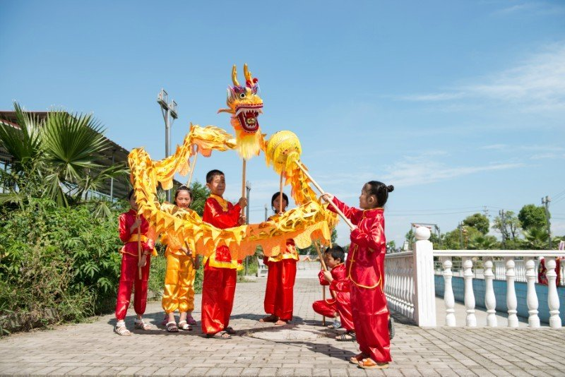 4m Length sz5 yellow golden plated 4 student Chinese DRAGON DANCE game  Festival mascot Costume