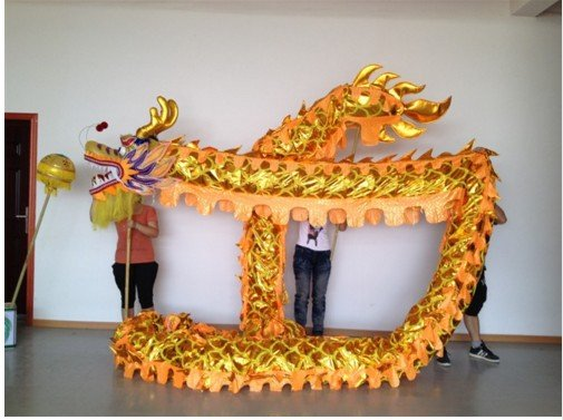 7m Length sz5 yellow golden plated 6 student Chinese DRAGON DANCE game  Festival mascot Costume