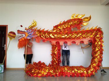 7m Length sz5 red golden plated 6 student Chinese DRAGON DANCE game  Festival mascot Costume