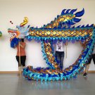 7m Length sz5 blue golden plated 6 student Chinese DRAGON DANCE game  Festival mascot Costume