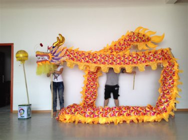 7m Length sz5 yellow silk print fabric  6 student Chinese DRAGON DANCE game  Festival mascot Costume