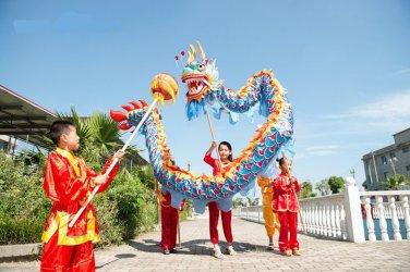 7m  sz5 boy blue-red silk print fabric 6 student Chinese DRAGON DANCE game  Festival mascot Costum