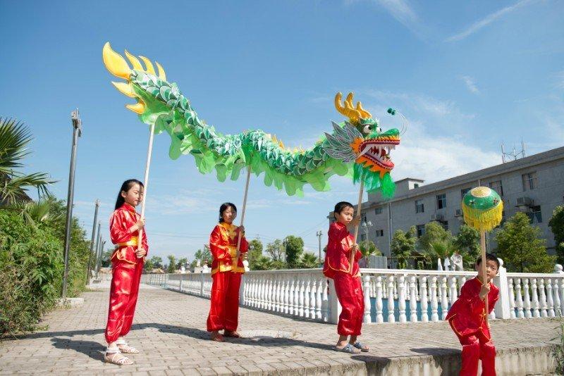 7m length sz5 boy green silk print fabric 6 student Chinese DRAGON DANCE game Festival mascot Costum
