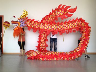 10m Length sz5# boy red silk print fabric 8 student Chinese DRAGON DANCE Festival mascot Costume