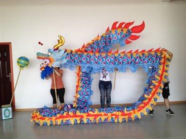10m  sz5# blue boy red silk print fabric 8 student Chinese DRAGON DANCE  Festival mascot Costume