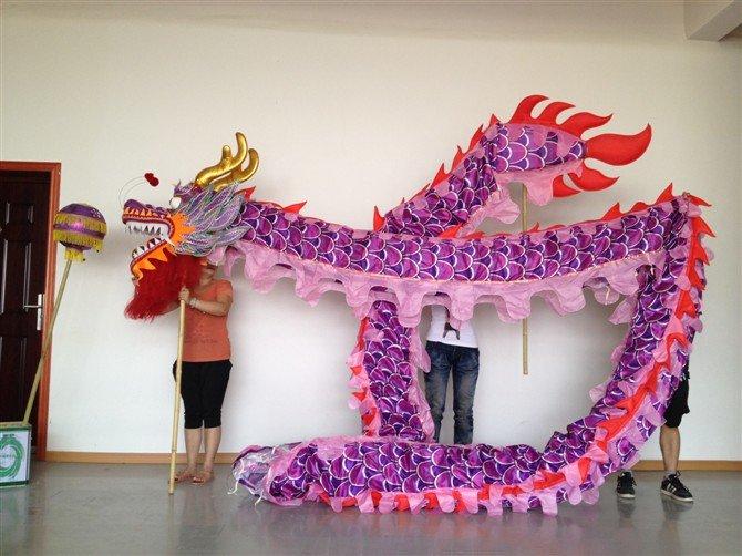 10m Length sz5# boy purple silk print fabric 8 student Chinese DRAGON DANCE Festival mascot Costume