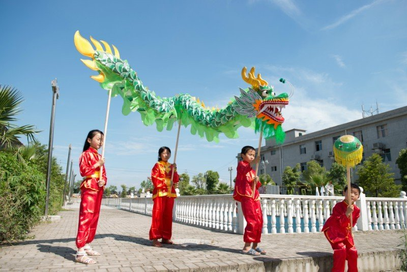 10m Length boy sz5# green silk print fabric 8 student Chinese DRAGON DANCE Festival mascot Costume