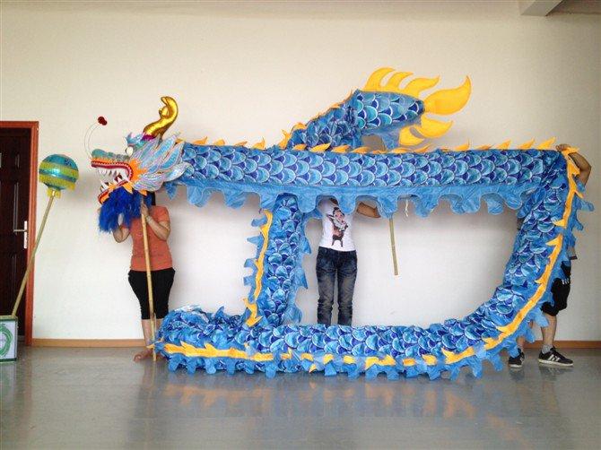 13m Length men sz5# blue silk print fabric 10 student Chinese DRAGON DANCE mascot Costum