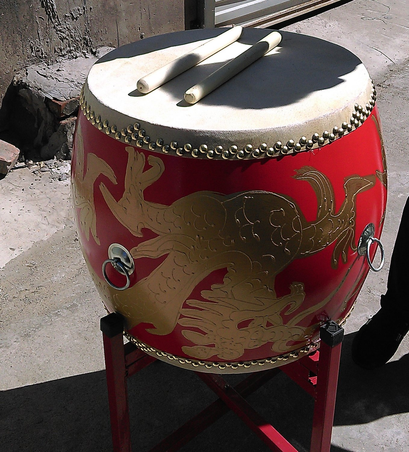 45cm War dragon drum with Drumsticks Chinese Percussion Musical Cowhide chlidren adult  lion dance