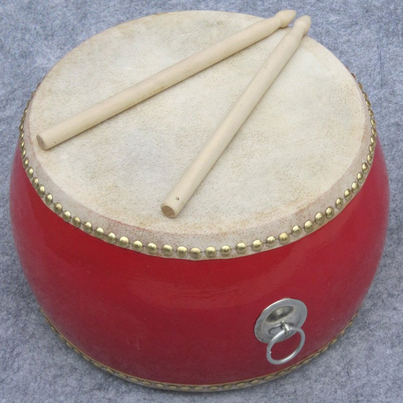 45cm Imposing red drum with Drumsticks Chinese Percussion Musical Cowhide chlidren adult  lion dance