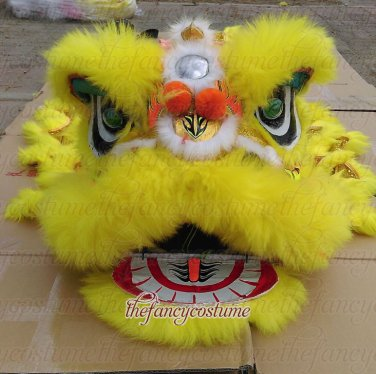 F/S CHILDREN YELLOW Southern Lion Dance mascot Costume pure wool  Festival christams