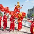 10.3m size 6 # 10 kid boy size red CHINESE DRAGON DANCE silk Folk Festival Celebration Costume 4 kid