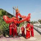 12.7m size 6 # 12 kid boy size red CHINESE DRAGON DANCE silk Folk Festival Celebration Costume 4 kid