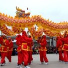 6m size 4 yellow 4 adult silk frabic CHINESE DRAGON DANCE Folk Festival mascot Costume