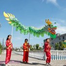12.7m size 6 # 12 kid boy green CHINESE DRAGON DANCE silk Folk Festival Celebration Costume 4 kid