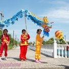 5.5m size 6 # 6 kid  boy blue silk CHINESE DRAGON DANCE  Folk Festival Celebration Costume 4 kid