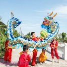10.3m size 6 # 10 kids blue golden plated CHINESE DRAGON DANCE Folk Festival Celebration Costume