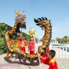 7.9m size 6 # 8 kid black golden plated CHINESE DRAGON DANCE Folk Festival Celebration Costume