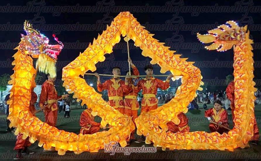 5d1925d35 6m size 4 LED YELLOW 4 adult silk frabic CHINESE DRAGON DANCE Folk Festival  mascot Costume