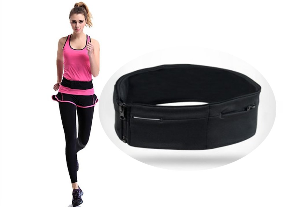 "Flip Running Belt Waist Pack for Mobile Phone Gym  - Black - Size S (26""-29"")"