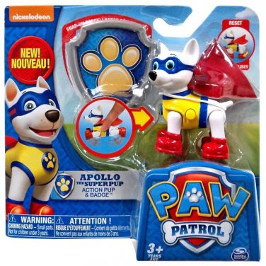 Paw Patrol Apollo The Super Pup. Action Pup with Badge figure