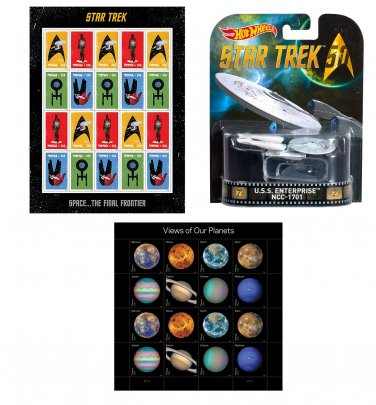 Star Trek Space Exploration USPS Stamps and U.S.S Enterprise NCC 1701 Model