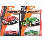 Matchbox Seagrave Classic Fire Engine Truck Set of 2. Red and Green