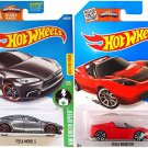 Hot Wheels Tesla Model S and Tesla Roadster HW Green Speed 2 pack