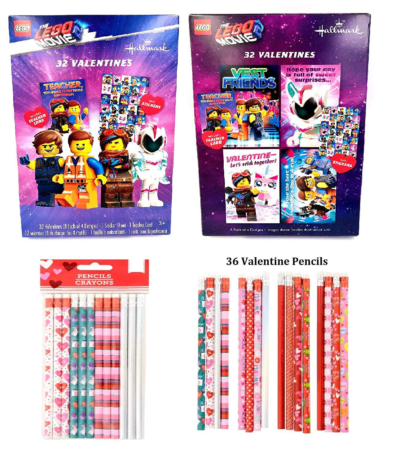 Lego Movie 2 32 Valentines Day Cards Stickers And 36 Pencils