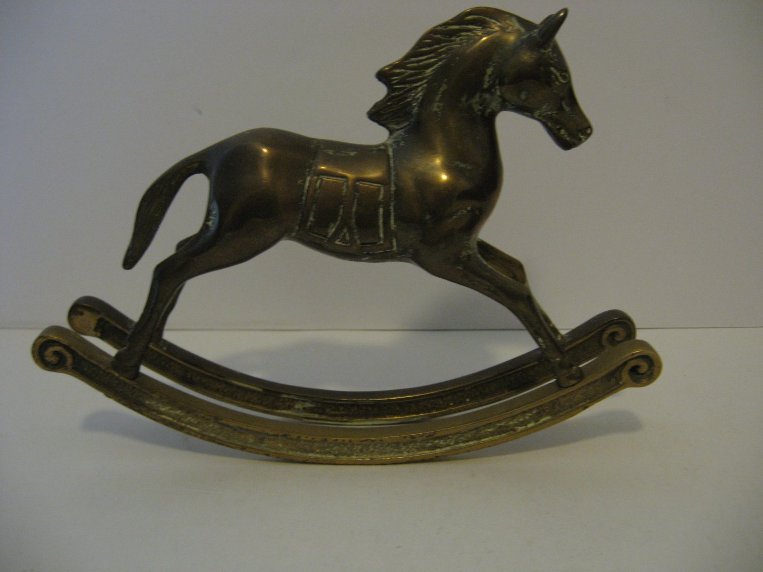"Vintage 8.25"" Long 6"" Tall Brass Rocking Horse Figurine"
