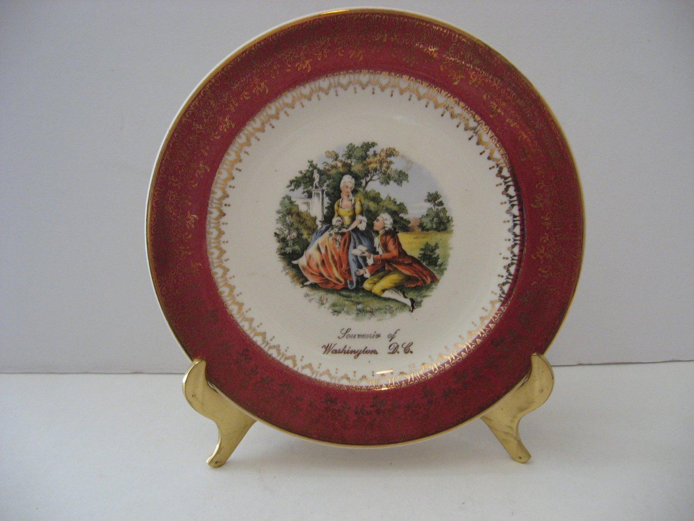 Vintage 1930's Souvenir 7' Plate Trimmed in 2.2 Karat Gold - Red Trimmed