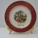 Vintage 1930's Souvenir 7' Plate Trimmed in 2.2 Karat Gold - Red Trimmed