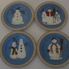 "SAKURA -  Snowman 8-1/4"" - Salad/Dessert Plates - Set of 4"