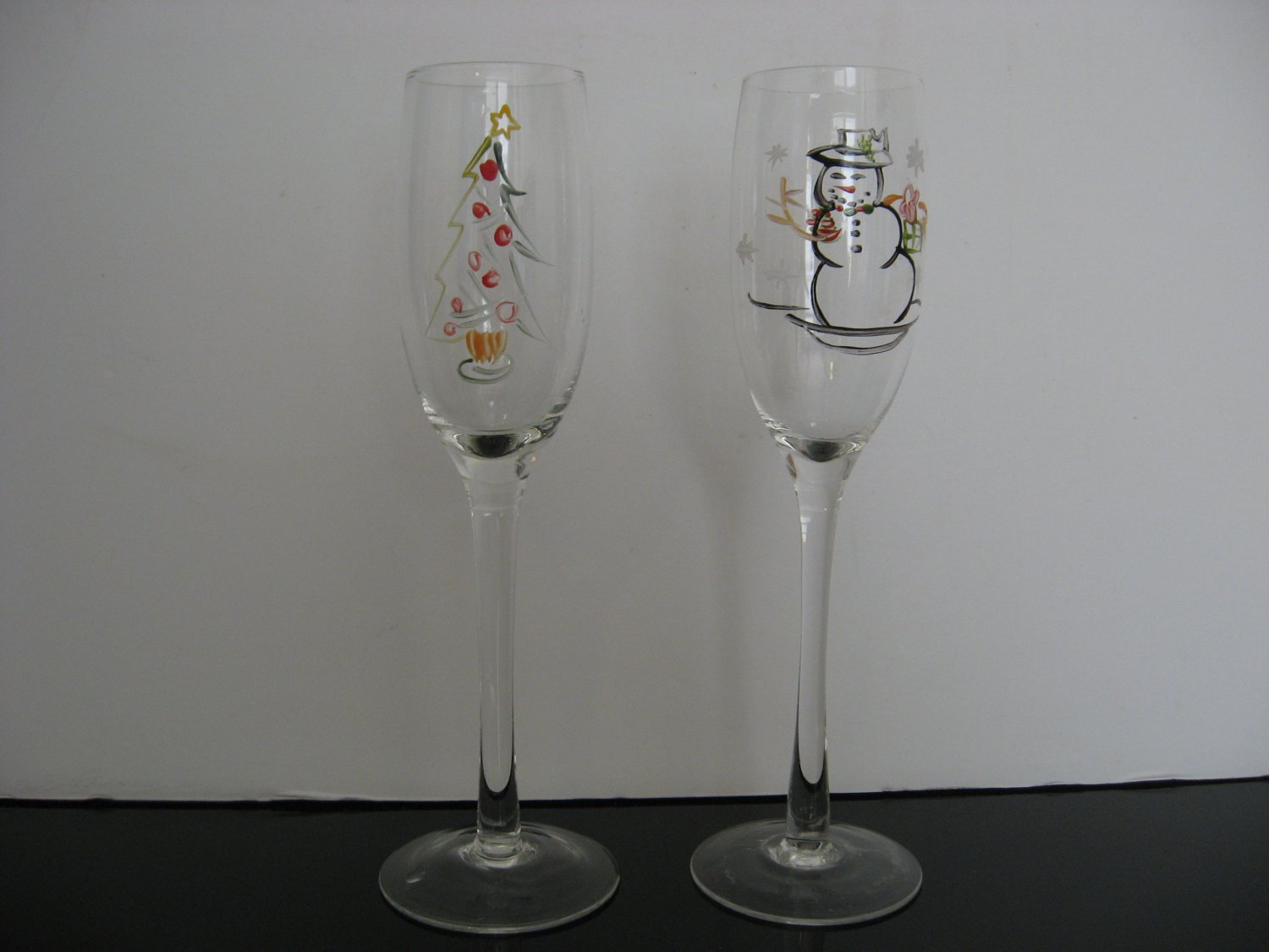 Christmas / Holiday Champagne Flutes - Set of 2