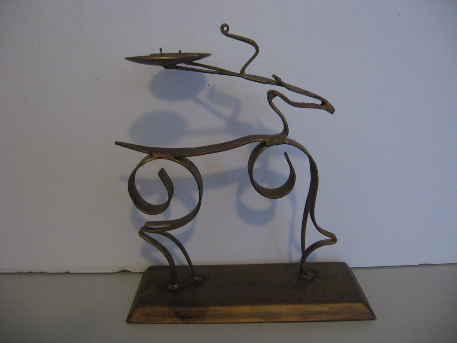 Metal Sculptured Deer Double Candle Holder