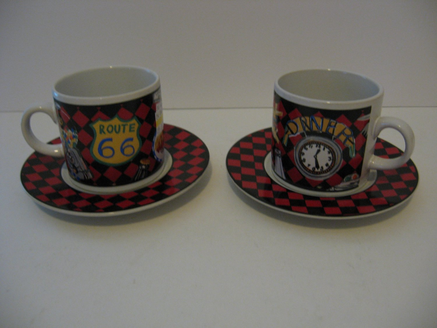 Vintage Sakura Roadside Route 66 coffee mug/saucer demitasse set of 2 - 1993