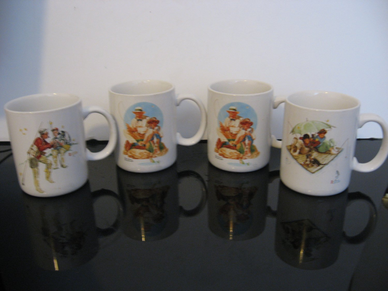 Vintage 1987 Norman Rockwell Museum Collection Set of 4 Mugs