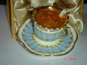 (AD-557 lb) Swarovski Crystal Light Blue Tea Cup Trinket/Pill Jewelry Box
