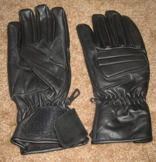 Leather Gloves Men Bike Motorcycle Drive Black Lrg. NEW